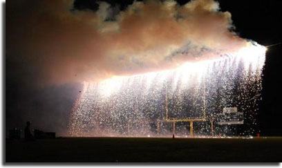 fireworks waterfall